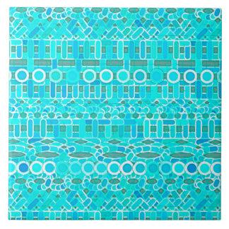 Carreau Batik tribal - turquoise, aqua et gris