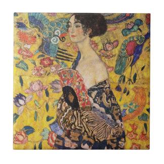 Carreau Belle femme avec la fan par Klimt