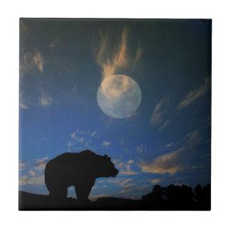 Carreau Belle tuile d'art d'ours et de lune
