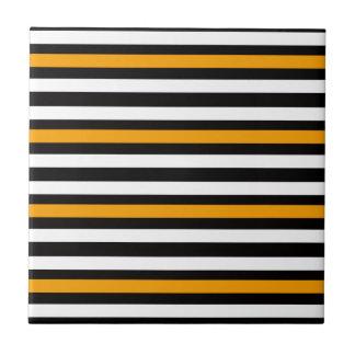 Carreau Blanc noir orange horizontal de rayures