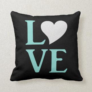 Carreau bleu d'amour et noir turquoise de partie coussin