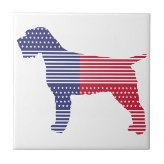 Carreau Bleu rouge de chien patriotique de griffon de