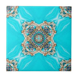 Carreau Bohémien bleu d'aqua ethnique gitan hippie de