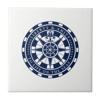 Carreau Boussole, étoile, bleu nautiques et blanc,