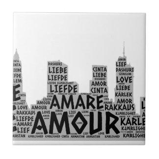 Carreau Brooklyn New York illustré avec le mot d'amour