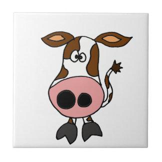 Carreau Brown drôle et bande dessinée blanche de vache
