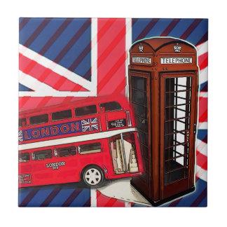 Carreau Cabine téléphonique rouge de rétro autobus d'Union