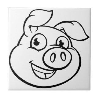 Carreau Caractère de mascotte de porc de bande dessinée