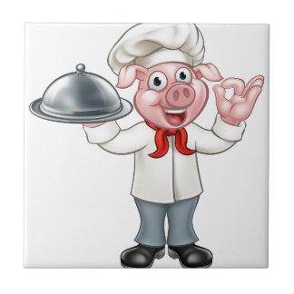 Carreau Caractère de porc de chef de bande dessinée
