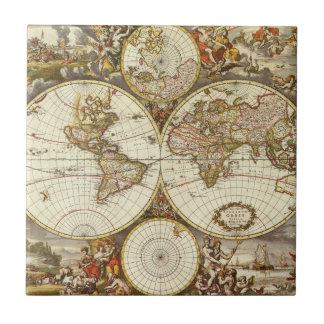 Carreau Carte antique du monde, C. 1680. Par Frederick de
