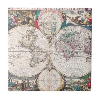 Carreau Carte antique du monde de Double-Hémisphère