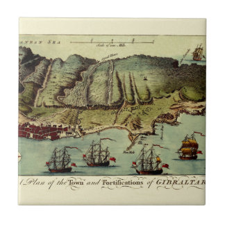 Carreau Carte du Gibraltar 1765
