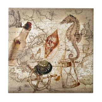 Carreau Carte nautique de coquillage côtier d'hippocampe