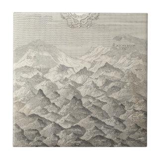 Carreau Carte vintage des collines et des montagnes au R-U