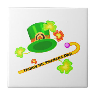 Carreau Casquette du jour de St Patrick heureux et collage