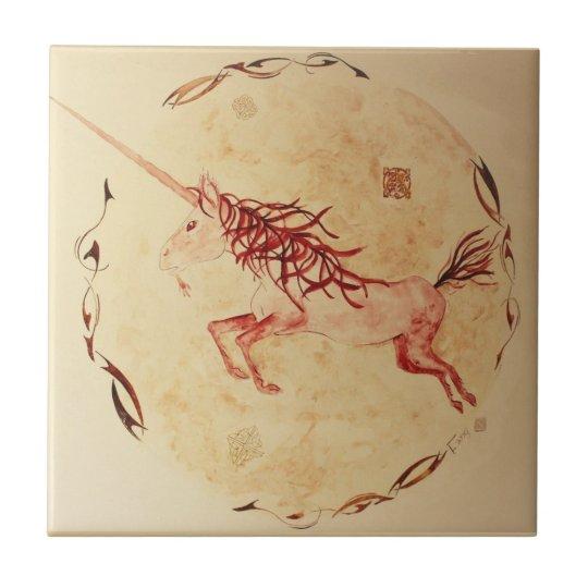 Carreau céramique aquarelle mythologie Irlande licorne