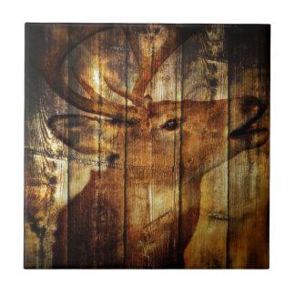 Carreau Cerf de Virginie primitif en bois de grange