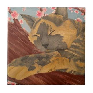 Carreau Chat de sommeil de fleurs de cerisier