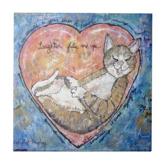 Carreau Chat heureux de coeur