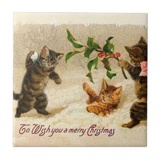Carreau Chats jouant dans Noël de cru de neige