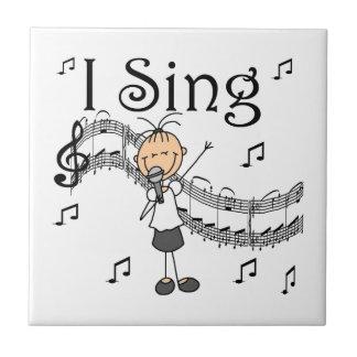 Carreau Chiffre fille de bâton je chante le T-shirts et