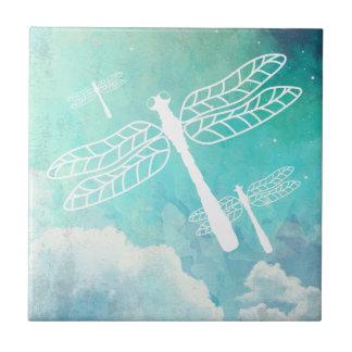 Carreau Ciel d'aquarelle de libellules de vol