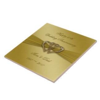 Carreau Cinquantième tuile d'or classique d'anniversaire
