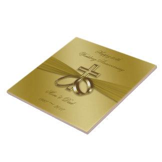 Carreau Cinquantième tuile d'or religieuse d'anniversaire