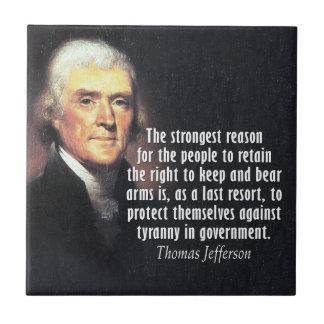 Carreau Citation de Thomas Jefferson sur des droites