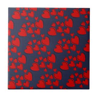 Carreau Coeurs rouges sur le noir