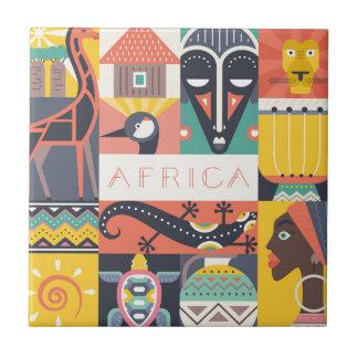 Carreau Collage symbolique africain d'art