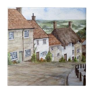 Carreau Colline d'or, Shaftesbury, peinture d'aquarelle de
