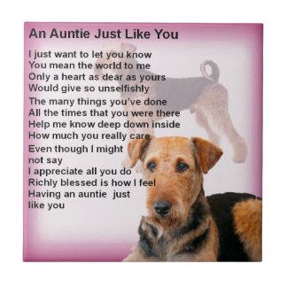 Carreau Conception d'Airedale Terrier - poème de tante