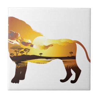 Carreau Coucher du soleil africain avec Lion2