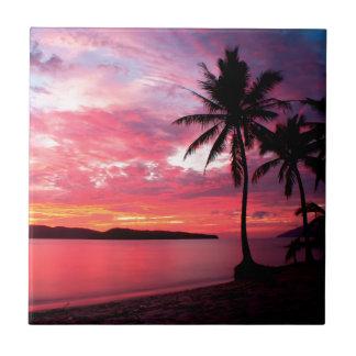 Carreau Coucher du soleil d'île hawaïenne