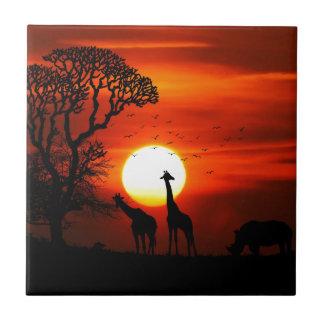Carreau Coucher du soleil orange en silhouette de girafe