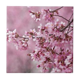 Carreau Couches de rose en pastel de fleurs de cerisier de