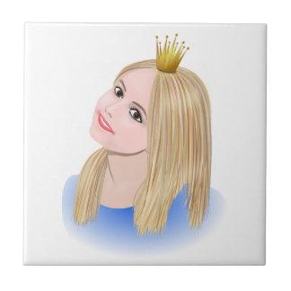 Carreau Couronne de port de jeune princesse blonde
