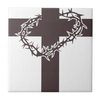 Carreau couronne du Christ des épines croisée