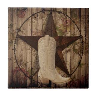Carreau Cow-girl en bois de pays occidental d'étoile de