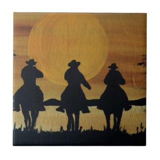 Carreau cowboys et chevaux