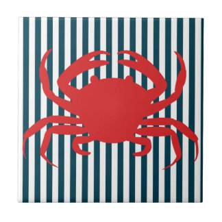 Carreau Crabe rouge sur les rayures nautiques