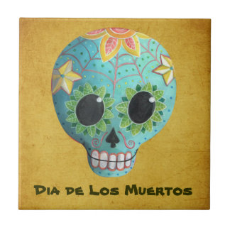 Carreau Crâne de sucre de Blue Dia de Los Muertos Art