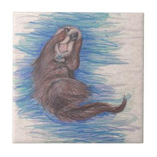 Carreau Créature d'animal sauvage de loutre de mer petite