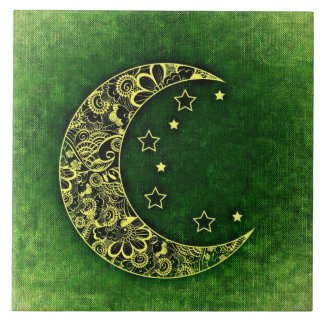 Carreau Croissant de lune et étoiles floraux d'or sur le