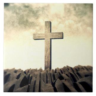 Carreau Croix chrétienne sur la montagne