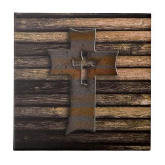 Carreau Croix en bois naturelle de Brown
