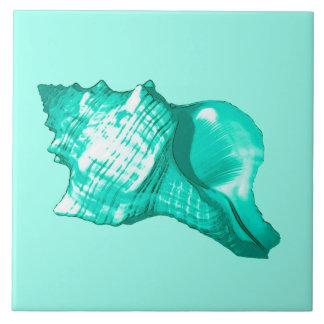 Carreau Croquis de coquille de conque - turquoise, blanc