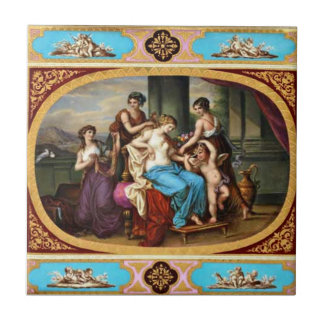 Carreau Cupidon et jeunes filles vintages royaux de tuile