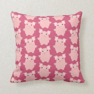 Carreau curieux mignon de porcs de bande dessinée oreillers